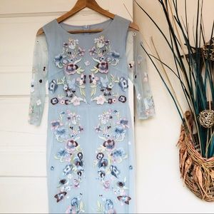 Stunning Floral Embroidered Baby Blue Dress Sz S/M